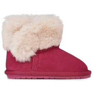 Pink baby walker sheepskin boots with wool feature around top and velcro opening