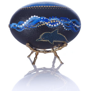 Hand Painted Emu Egg | Surfing Dolphins