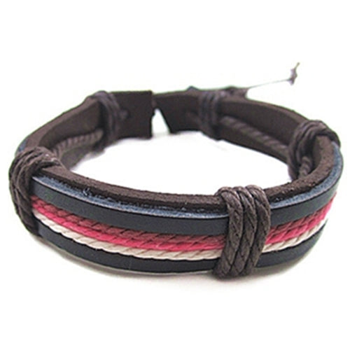 Pink Striped Unisex Wax Leather rope Bracelet