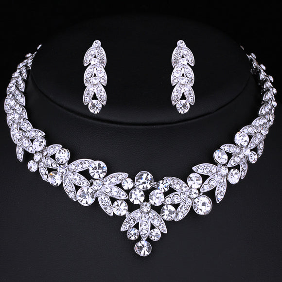 Silver Plated Grapevine Wedding Bridal Necklace & Earrings Set