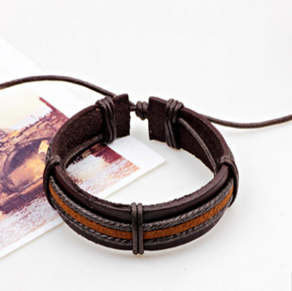 Ajax Mens Leather Bracelet