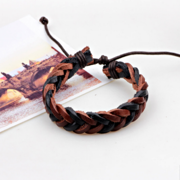 Casssius Mens Leather Bracelet