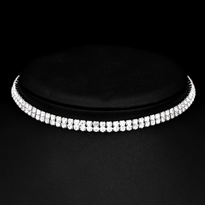 Silver Crystal Choker Necklace Wedding Bridal Jewellery
