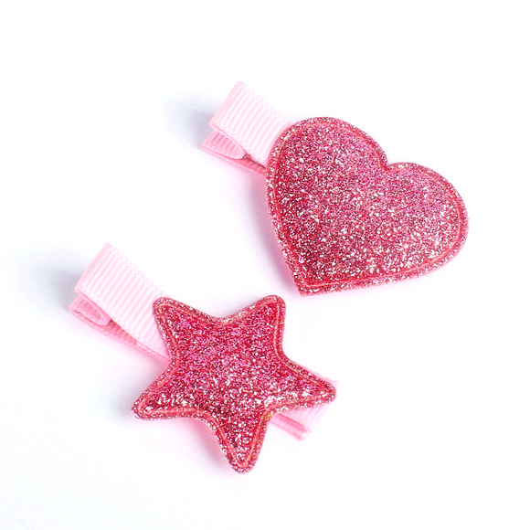 Fuchsia Pink Hair Clip Barrette Heart-Star Set