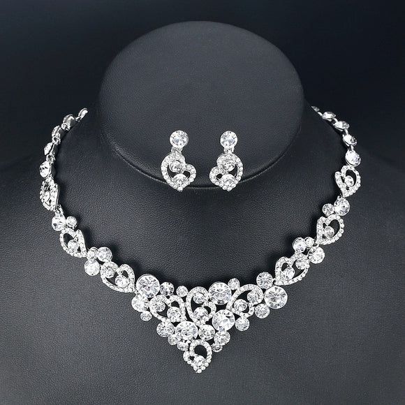Silver Plated Sweetheart Necklace Wedding Bridal Jewellery Set
