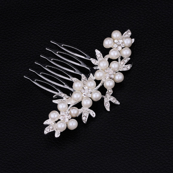 Silver Plated Pearl Hair Comb Wedding Bridal Jewellery
