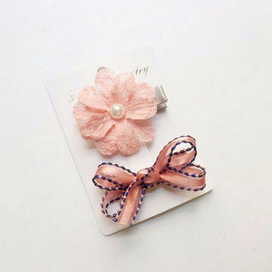 Peach Barrette Style Hair Clips Set For Girls