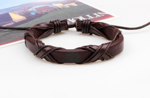 Roman Mens Leather Bracelet