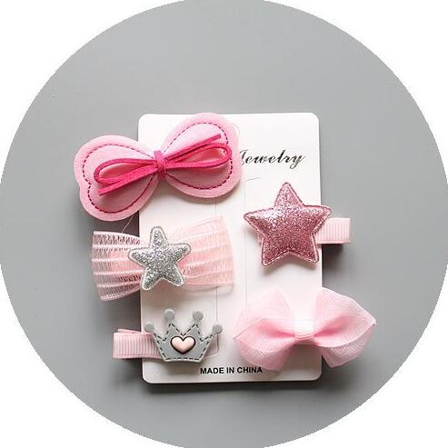 Pink Assorted Barrette Style Hair Clips Set