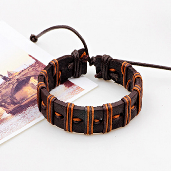 Xander Mens Leather Bracelet