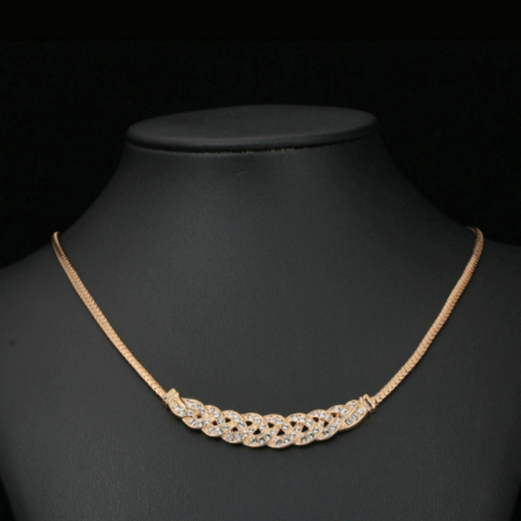 18K Rose Gold Plated Choker Necklace with Austrian Crystals