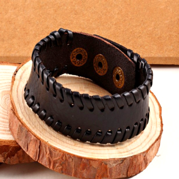 Black Thick Rugged Leather Bracelet