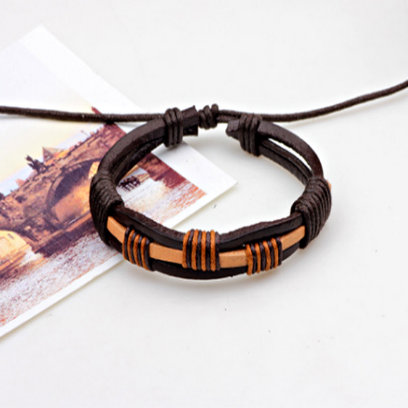 Blade Mens Leather Bracelet