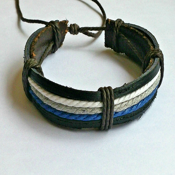 Blue Striped Unisex Wax Leather rope Bracelet -Casual