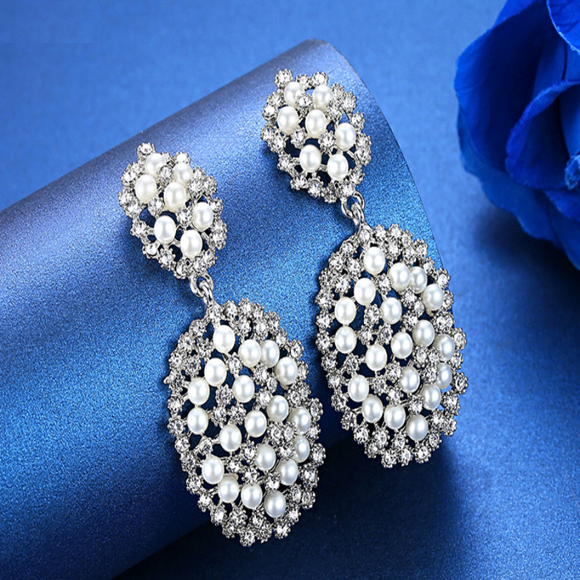 Sassy Silver Plated & Pearl Bridal Jewellery Earrings