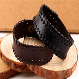 Thick Rugged Leather Bracelet
