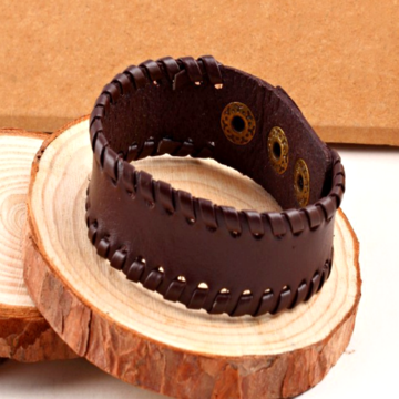 Brown Thick Rugged Leather Bracelet