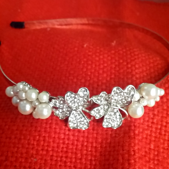 Silver Butterfly & Pearl headwear for girls