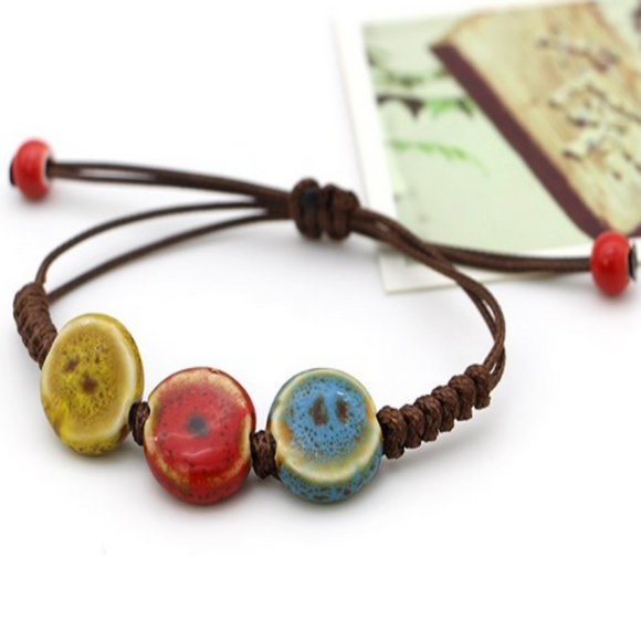 Colorful Vintage Flat Round Bead Bracelet for Men & Women