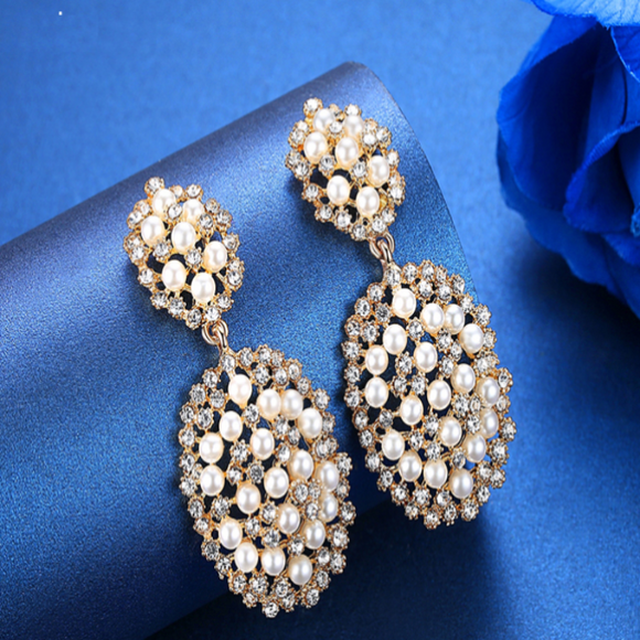 Sassy Gold Plated & Pearl Bridal Jewellery Earrings