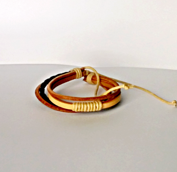 Classy Tan Multilayer Brown Bracelet