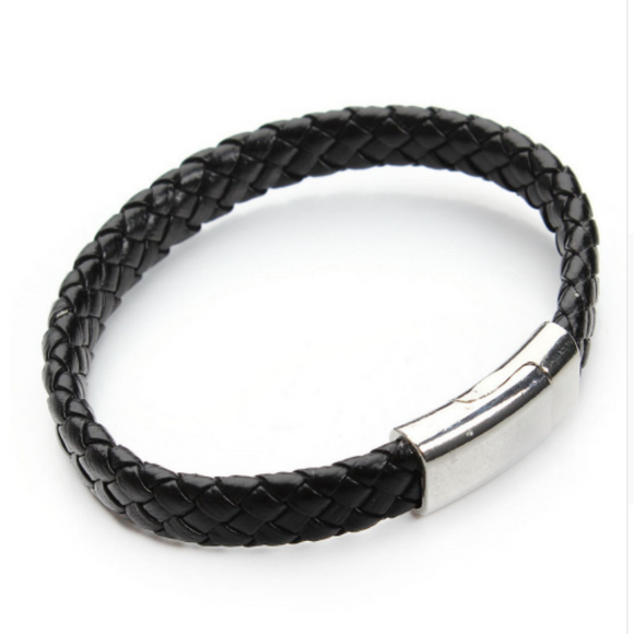 Black Thick Braided Magnet Clasps Leather Bracelet For Men