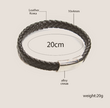 Brown Thick Braided Magnet Clasps Leather Bracelet For Men