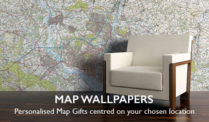 Map wallpapers. Personalised map gifts centred on your chosen location