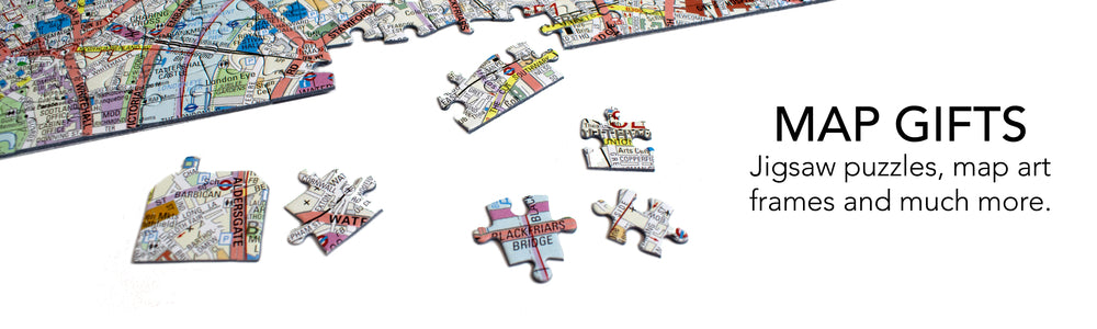 Map Gifts; Jigsaw Puzzles, Map Art, Frames and much more