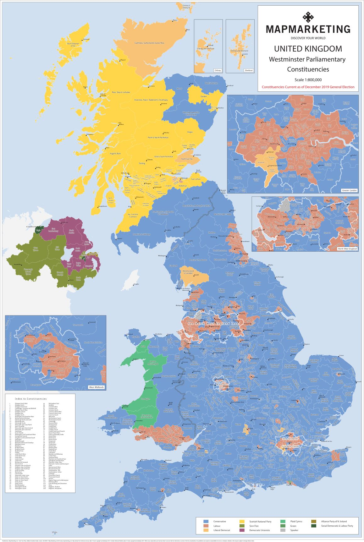 December 2019 General Election wall map