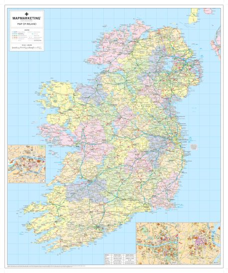 Images Of Map Of Ireland.Ireland Political Map Irish Wall Map With Roads And County Borders