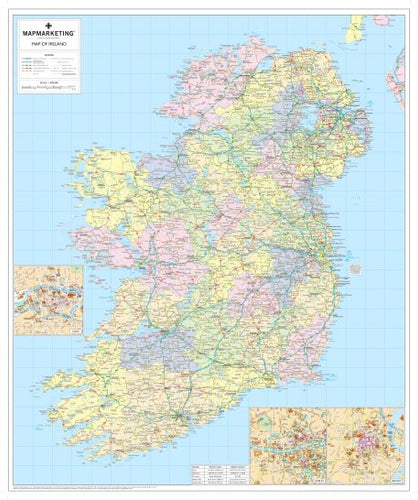Ireland Political Map - Irish Wall Map with Roads and County Borders