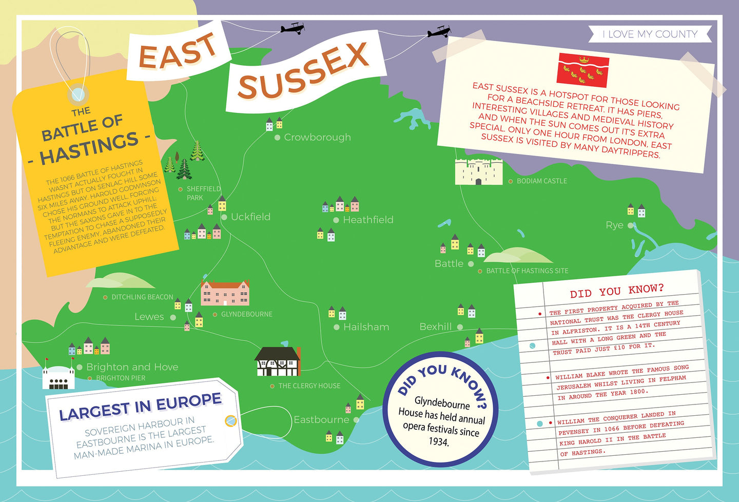 East Sussex - I Love My County 400 piece Jigsaw Puzzle