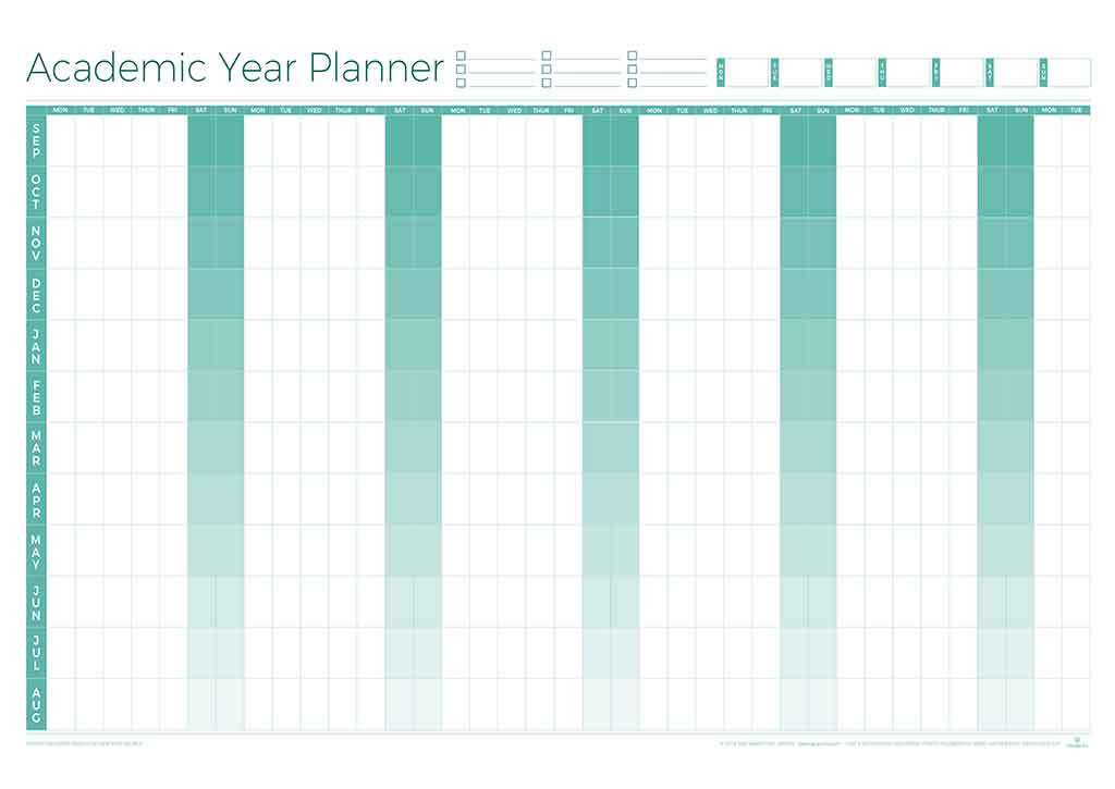 Academic perpetual year wall planner laminated for For planner