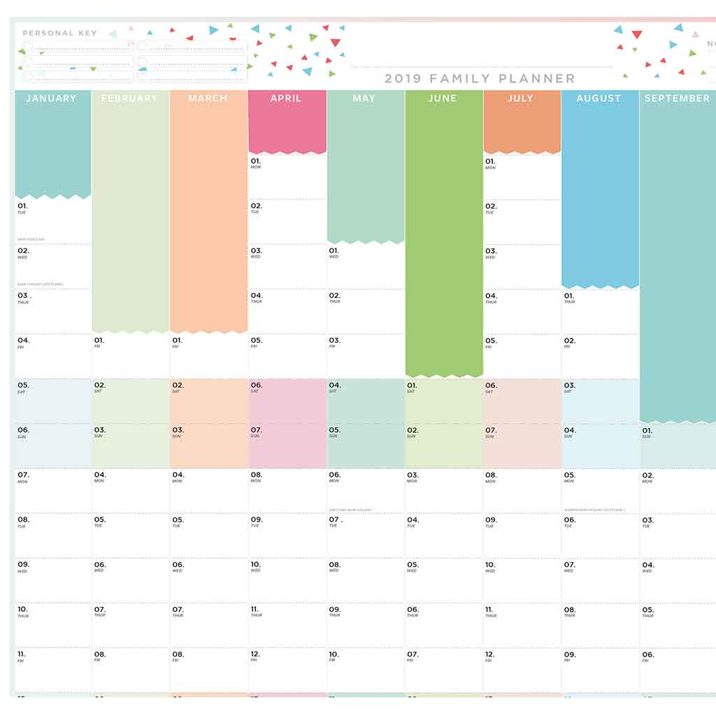 2019 laminated family year planner for the wall