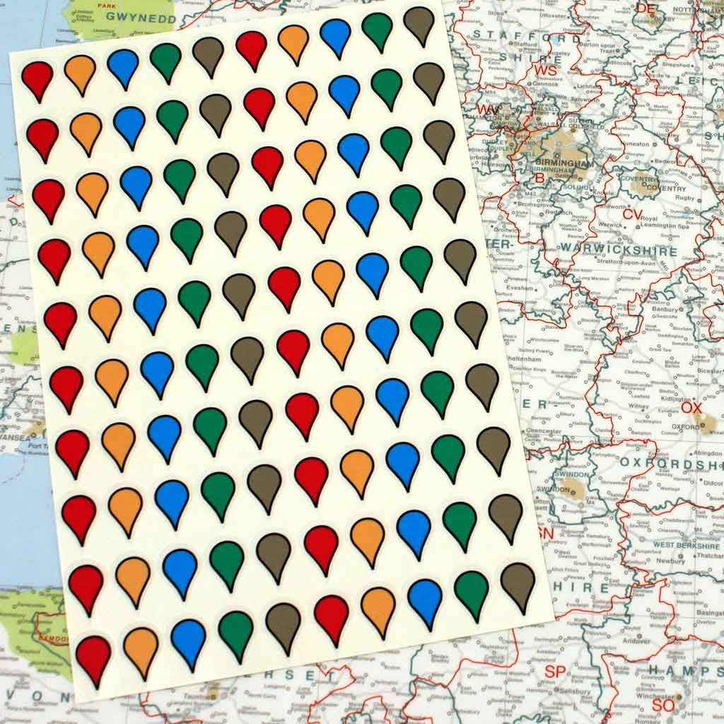 Map Stickers for Wall Maps