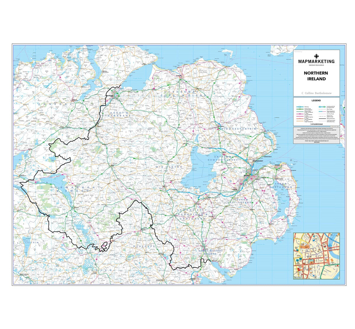 Map Of Ireland Northern Ireland.Northern Ireland Road Map Wall Map Of Northern Ireland