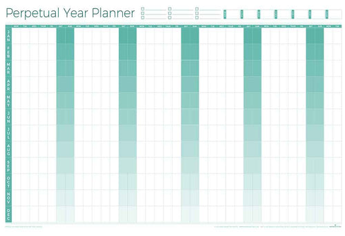 Perpetual Laminated Year Wall Planner