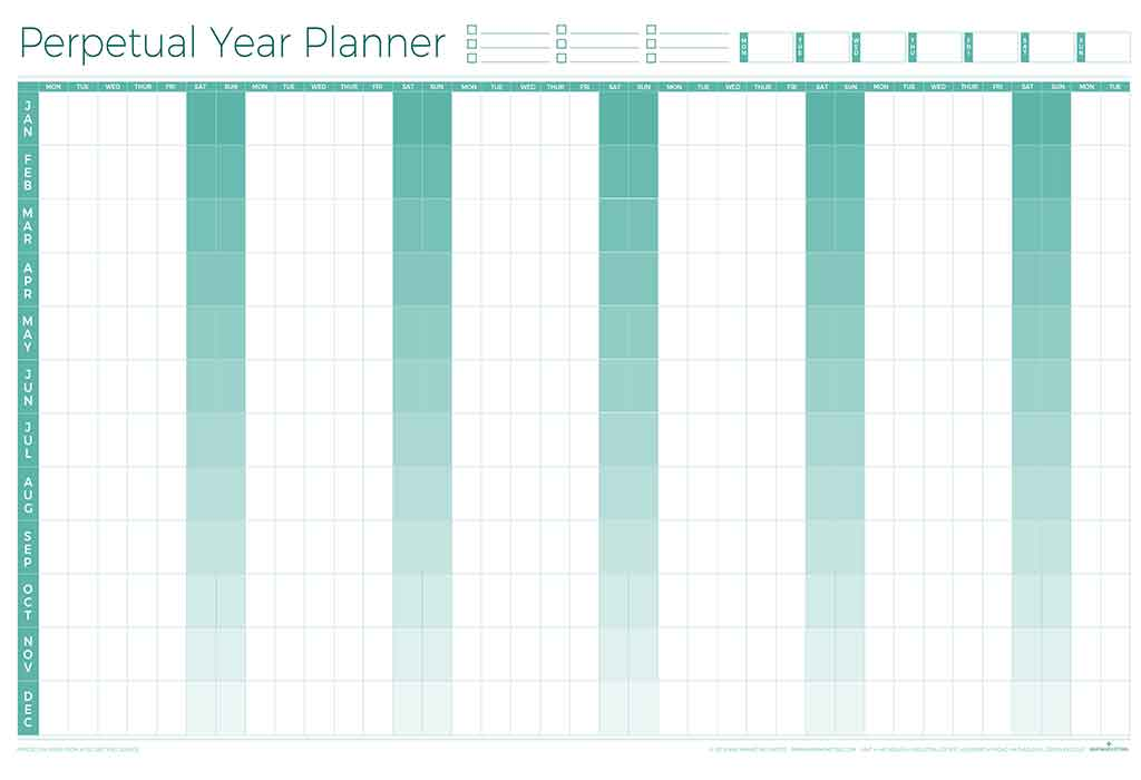 Perpetual year wall planner write on wipe off wall chart for For planner