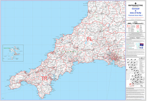 Cornwall and Scilly Isles Postcode Wall Map - Sector Map 1