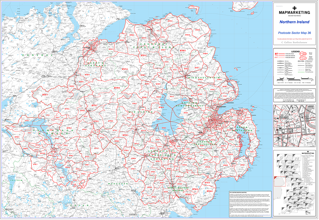 Map Of Ireland Northern Ireland.Northern Ireland Belfast Postcode Wall Map Sector Map 36