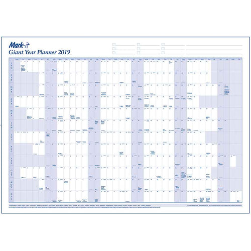 Planners - Giant 2019 Yearly Wall Planner