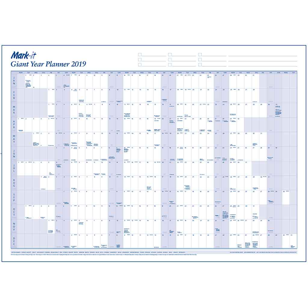 giant 2019 year wall planner free accessory kit map marketing