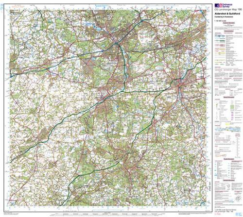 Folded Maps - Aldershot Guildford Landranger Map - Ordnance Survey