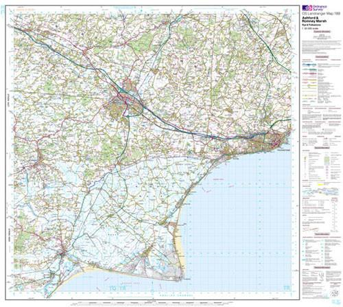 Folded Maps - Ashford Romney Marsh Rye Landranger Map - Ordnance Survey