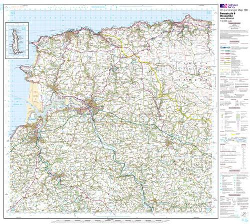 Folded Maps - Barnstaple Ilfracombe Landranger Map - Ordnance Survey