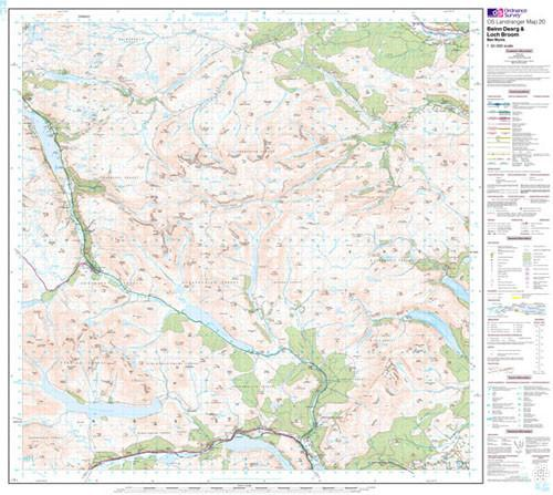Folded Maps - Beinn Dearg Loch Broom Landranger Map - Ordnance Survey