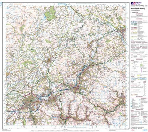 Folded Maps - Blackburn Burnley Landranger Map - Ordnance Survey