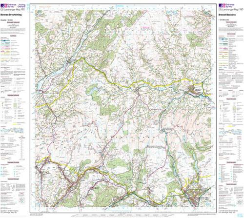 Folded Maps - Brecon Beacons Landranger Map - Ordnance Survey