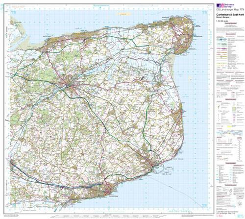 Folded Maps - Canterbury East Kent Dover Landranger Map - Ordnance Survey